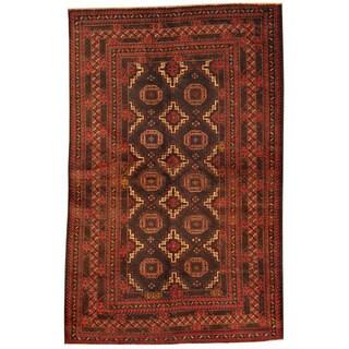 Herat Oriental Afghan Hand-knotted Tribal Balouchi Navy/ Rust Wool Rug (4' x 6'2)