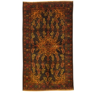 Herat Oriental Afghan Hand-knotted Tribal Balouchi Brown/ Green Wool Rug (3'5 x 6'1)