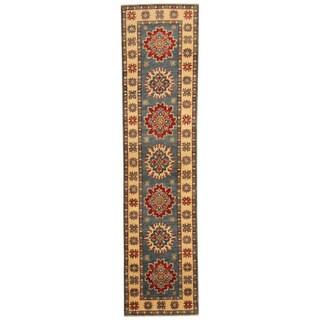 Herat Oriental Afghan Hand-knotted Kazak Green/ Ivory Wool Runner (1'10 x 7'10)