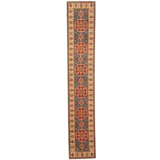 Herat Oriental Afghan Hand-knotted Kazak Blue/ Ivory Wool Runner (2' x 11'3)