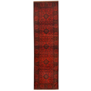 Herat Oriental Afghan Hand-knotted Khal Mohammadi Red/ Navy Wool Runner (2'8 x 9'4)