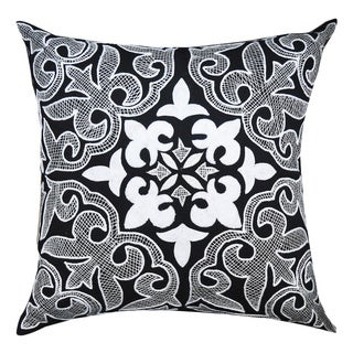 Black/ White Embroidered Work Cotton 20-inch Throw Pillow