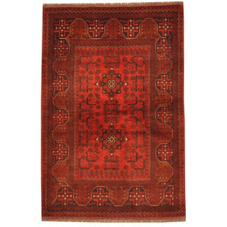 Herat Oriental Afghan Hand-knotted Tribal Khal Mohammadi Red/ Navy Wool Rug (4' x 5')