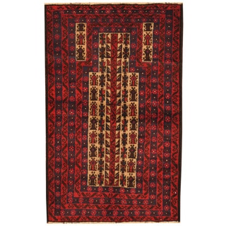 Herat Oriental Afghan Hand-knotted Tribal Balouchi Ivory/ Red Wool Rug (2'8 x 4'5)