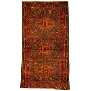 Herat Oriental Afghan Hand-knotted Tribal Khal Mohammadi Navy/ Red Wool Rug (3'3 x 6'1)