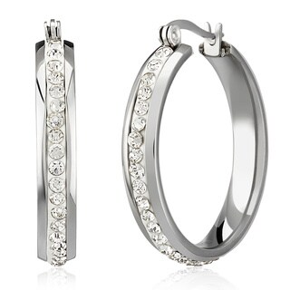 Women's Stainless Steel Crystal Inlaid Hoop Earrings
