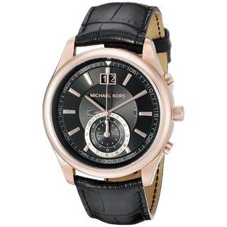 Michael Kors Men's MK8460 'Aiden' Chronograph Black Leather Watch
