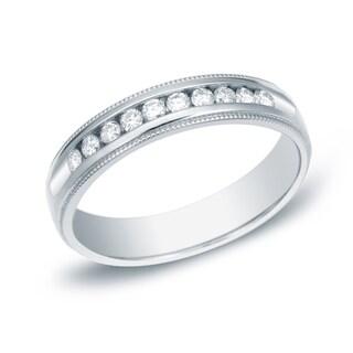 Auriya 14k Gold 1/4ct TDW Milgrain Round-Cut Diamond Channel-Set Wedding Band (H-I, SI1-SI2)