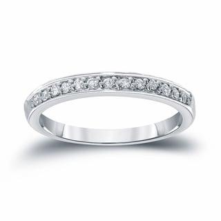 Auriya 14k White Gold 1/6ct TDW Round Cut Diamond Wedding Band (H-I, SI1-SI2)