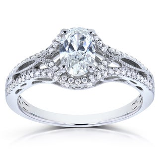 Annello 14k White Gold Certified Oval 7/8ct TDW Diamond Engagement Ring (G-H, VS2)