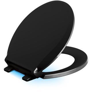 Kohler Cachet LED Nightlight Round Closed Front Toilet Seat in Black Black