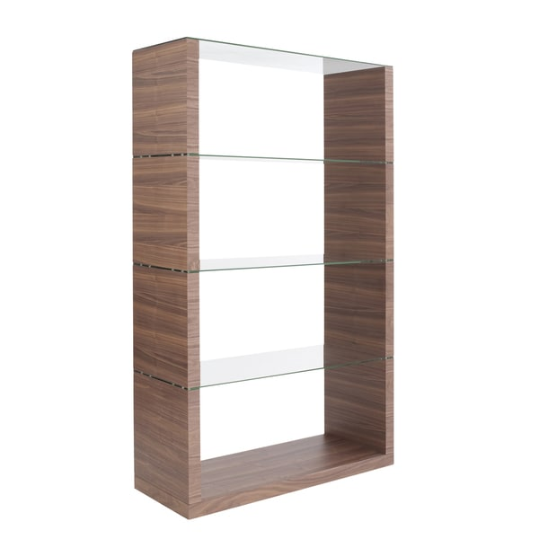 Lennox Walnut Shelving Unit Glass