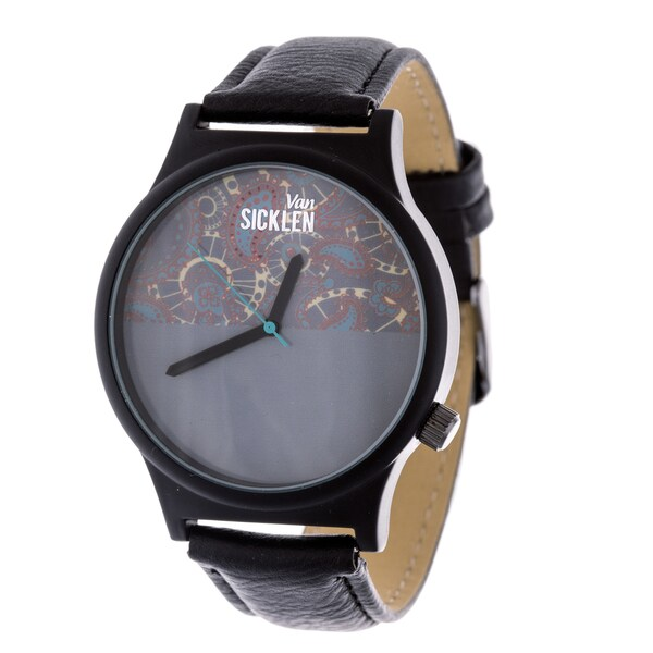 Van Sicklen Men's Blue Swirl Dial / Black case and Leather Strap Watch