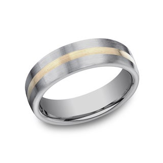Men's 6mm Titanium Ring with 18k Yellow Gold Center