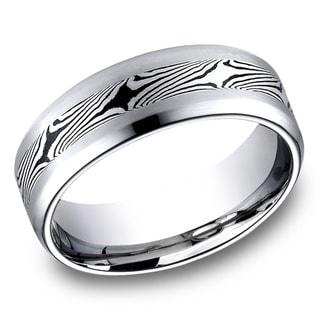 Men's Cobalt Satin Mokume Center Ring