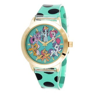 My Little Pony Girls Watch / Gold Case with Green Rubber Strap