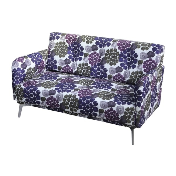 Emma Purple Flower Pattern Print Fabric Loveseat