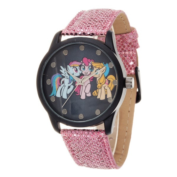 My Little Pony Girls Watch / Black Case with Pink Leather Strap