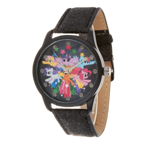 My Little Pony Girls Watch / Black Case and Black Leather Strap