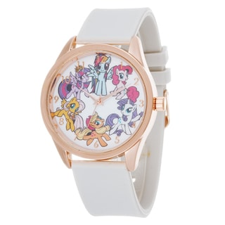 My Little Pony Girls Watch / Rose Case and White Silicone Strap
