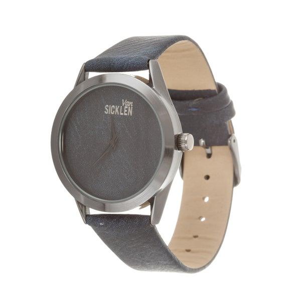 Van Sicklen Men's Gun Metal Dial and Case with Navy Blue Leather Strap Watch