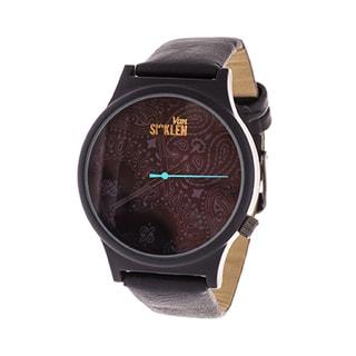 Van Sicklen Men's Swirl Dial / Black Case with Black Leather Strap Watch