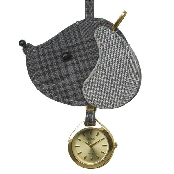 Dakota Women's Moxie Grey Plaid Dog Hanging Purse Charm Clock