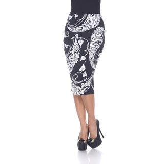 White Mark Women's 'Cynthia' Print Midi Skirt
