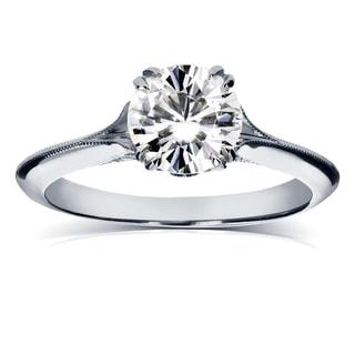 Annello 14k White Gold Forever Brilliant Moissanite and 1/10ct TDW Diamond Antique Flower Head Soft Knife Edge Ring (G-H, I1-I2)