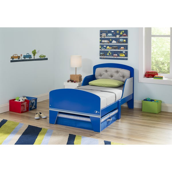 Jack and Jill Blue/ Grey Toddler Bed with Upholstered Headboard