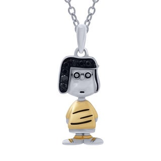 Sterling Silver Black Diamond Accent Peanuts Marcie Pendant (I-J, I2-I3)