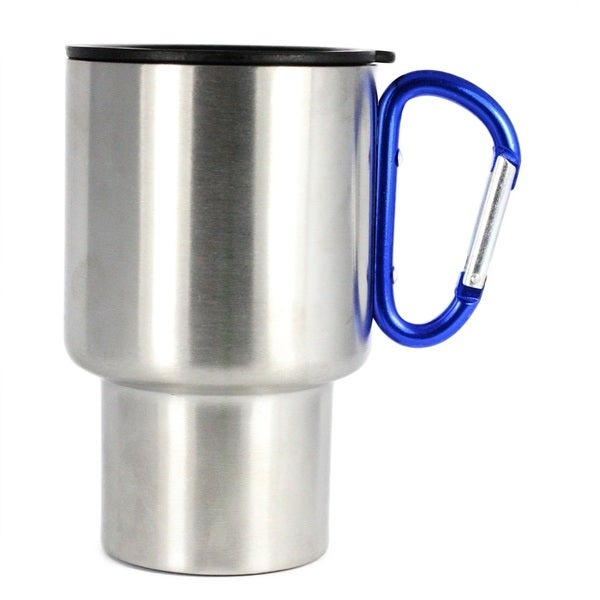 AGS Brand Stainless 14oz Carabiner Travel Mug 2-Pk