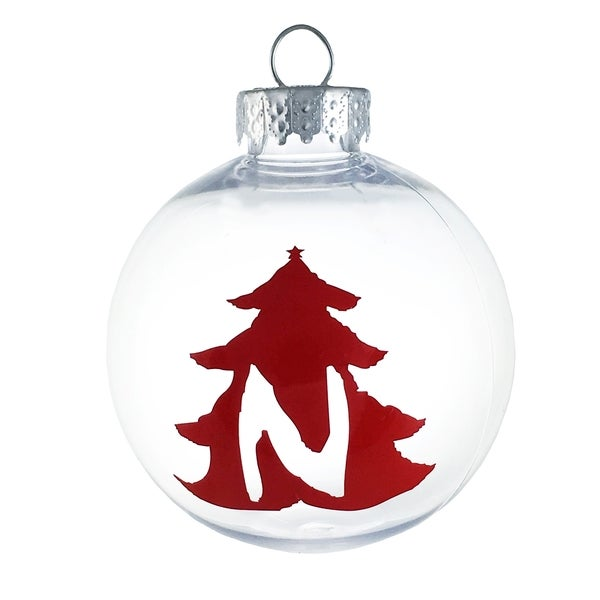Christmas Tree Holiday Monogram Initial Ornament