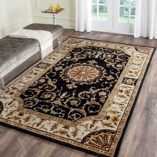 Safavieh Hand-Tufted Empire Black/ Ivory Wool Rug (5' x 8')
