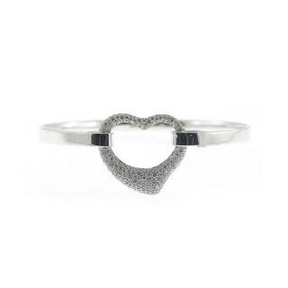Sonia Bitton 18k White Gold Designer 1 3/8ct TDW Diamond Open Heart Bangle Bracelet (I-J, SI1-SI2)