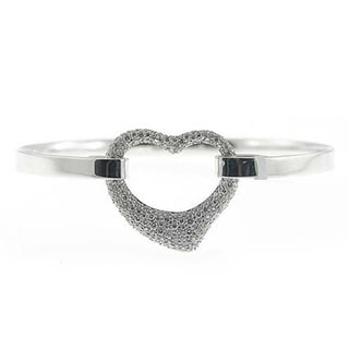 Sonia Bitton 18k White Gold Designer 1 3/8ct TDW Diamond Open Heart Bangle Bracelet (I-J, SI1-SI2)