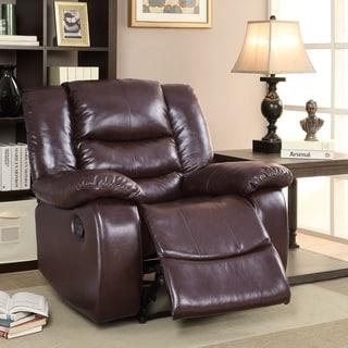 Furniture of America Corey Plush Faux Leather Recliner