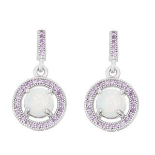 La Preciosa Sterling Silver White Opal and Purple Cubic Zirconia Earrings
