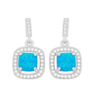 La Preciosa Sterling Silver Blue Opal & CZ Square Earrings