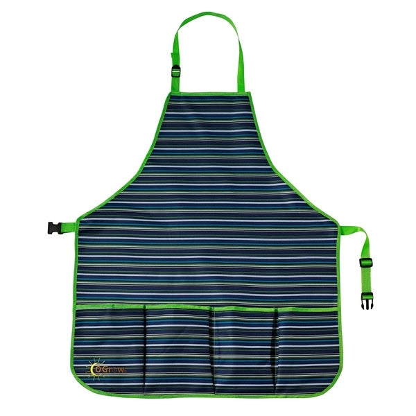 oGrow High Quality Kids Garden Tool Apron With Adjustable Neck And Waist Belts - Blue Striped