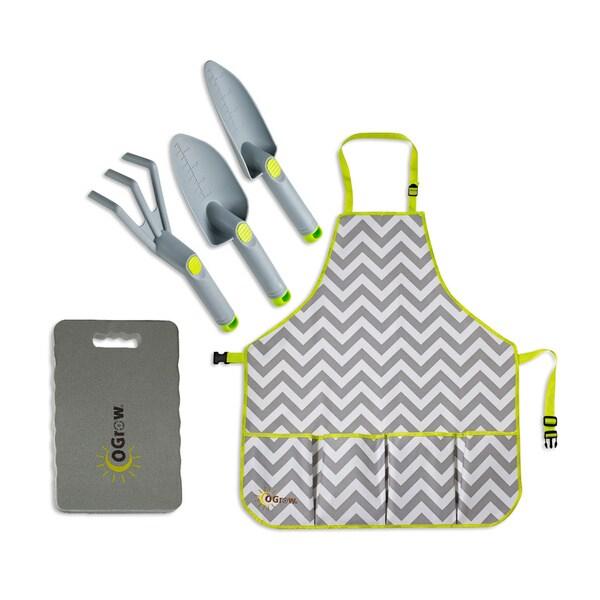 oGrow Complete Gardening Kit 3 Piece Grey Tool Set/ Apron and Kneeling Pad