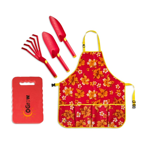 oGrow Complete Gardening Kit - 3 Piece Tool Set, Extra Wide Apron and Kneeling Pad - Raspberry