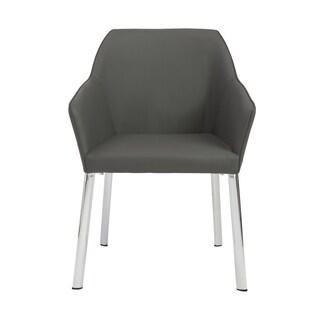 Eagan Arm Chair (Set of 2) - Dark Gray/Chrome
