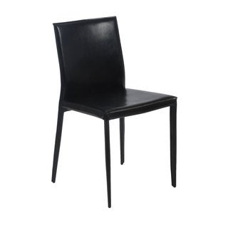 Shen Black Leather Side Chairs (Set of 4)