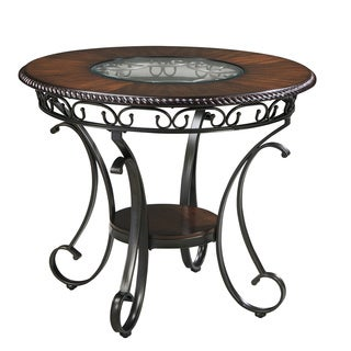 Signature Design by Ashley Glambrey Brown Round Counter Height Table with Glass Insert