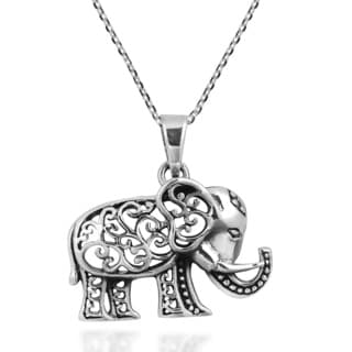Royal Thai Swirl Elephant .925 Sterling Silver Necklace (Thailand)