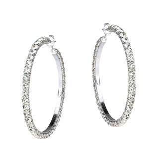 Fabulous White CZ 43mm Round Hoop Post 925 Silver Earrings (Thailand)