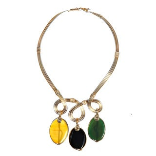 Swirl Multicolor Oval Agate Two Tone Collar Necklace (Philipines)