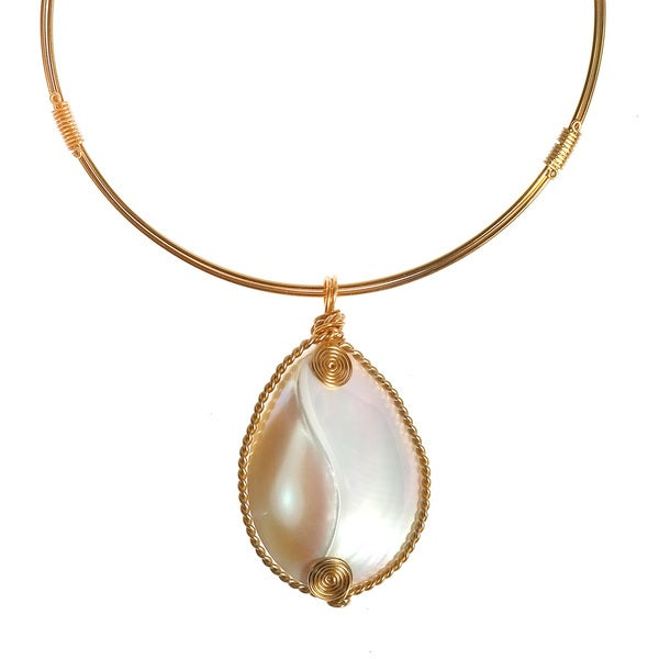 Elegant Nautilus Shell Brass Wireworks Collar Necklace (Philippines)