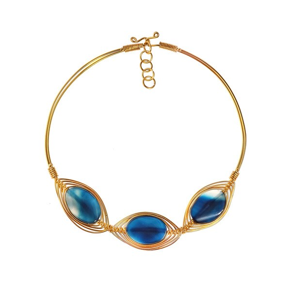 Blue Nova Agate Stone Brass Collar Choker Necklace (Philippines)